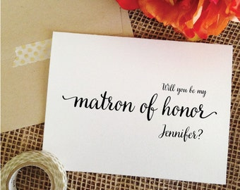 Personalized Will you be my matron of honor Card Personalized Wedding Card Asking Matron of Honor Invite (Lovely)