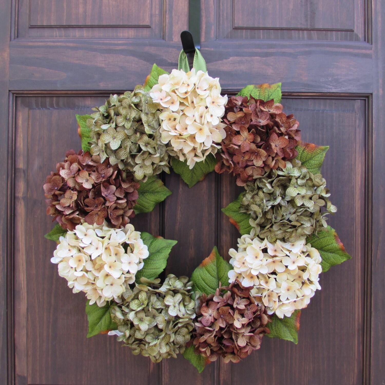 Summer hydrangea wreath front door wreath by newenglandhomeaccent