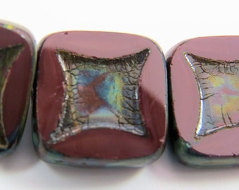 Czech Glass, Dark Red, Opaque, Square, Astroid, Travertine Glaze, Chunky,14mm Square, 4 Beads PTCSQAS003