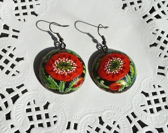 Red poppies earrings tribal Gift idea|for|her boho earrings nature red wedding Red Black Dangling earrings holiday earrings Handmade jewelry