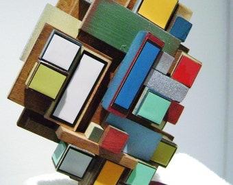3-d wood assembled table sculpture-titled de stijl
