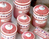 Rare: Complete Set of French Vintage Enamel Nesting Canisters  and Matches Box -  Art Deco 1920s - Free Shipping within the USA