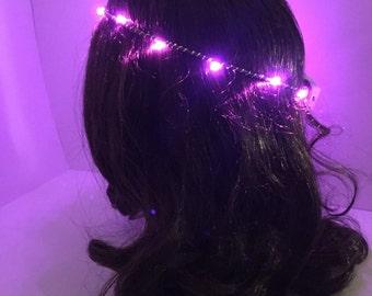 Pink LED Headband, halo crown -- LED Crown, Light up Headband, Festival, Rave, neon headband, LED Flower Crown,
