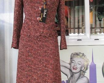 Tailleur anni 70  melange marrone. Scamiciata e giacca. Nuovo., Fondo di magazzino/70s tapestry skirt suit/Deadstock/Original tags/Stylish