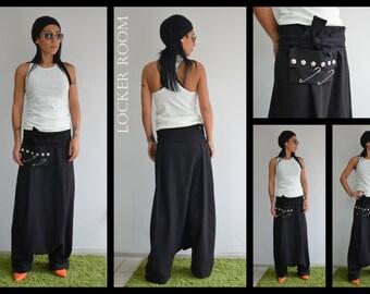 Loose Black Harem Pants / Extravagant Drop Crotch Black Pants/ Extravagant Trousers /Low crotch pants / Low rise pants