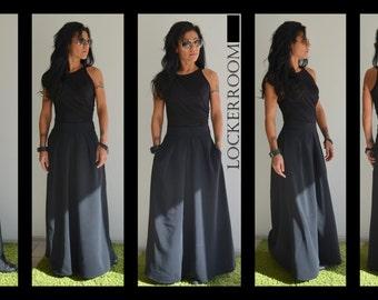 Maxi skirt, Floor Length Skirt, Modern Maxi Skirt, Black Loose Skirt, Extravagant Skirt, Wedding Loose skirt, Skirt with pockets