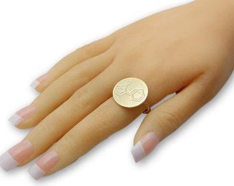 Dopamine ring- 14k gold chemistry jewelry, chemistry ring, science jewelry custom ring custom molecule