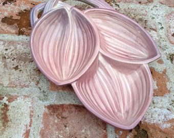 McCoy Pink Mauve Appetizer Serving Dish Three Leaves