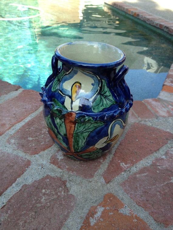 Mexican Hand Painted Pottery With Calla