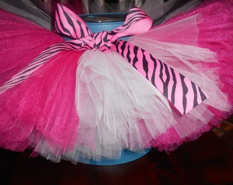 Pink and White zebra Tutu