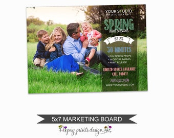 Spring Mini Session Marketing Board - Template for Photographers - Digital Photoshop Template - 5x7 Photography Design - SMS03