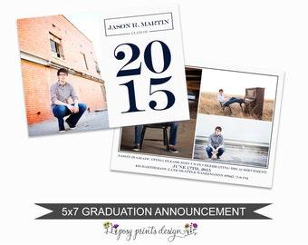 Graduation Announcement Template - 5x7 Digital Photography Photoshop Files - Template for Photographers - GC07 - INSTANT DOWNLOAD