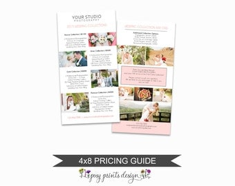 Wedding Photographer Price List - Wedding Pricing Guide Template - Photoshop Marketing Materials - 4x8 Wedding Price Sheet - PGT04