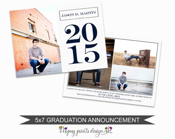 Graduation Announcement Template - 5x7 Digital Photography Photoshop Files - Template for Photographers - GC07 - INSTANT DOWNLOAD