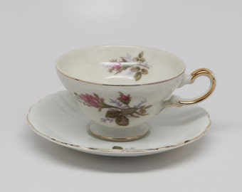 "Vintage 1960's ""Moss Rose"" Tea Cup & Saucer, Unmarked, White Porcelain, Excellent Condition"