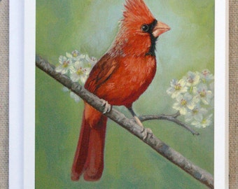 Cardinal - bird notecard - bird art - paper goods - thank you notes - gift for mom