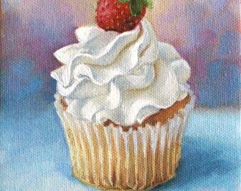 Cupcake painting - Art print - Birthday - 8 x 10 print - Open edition print