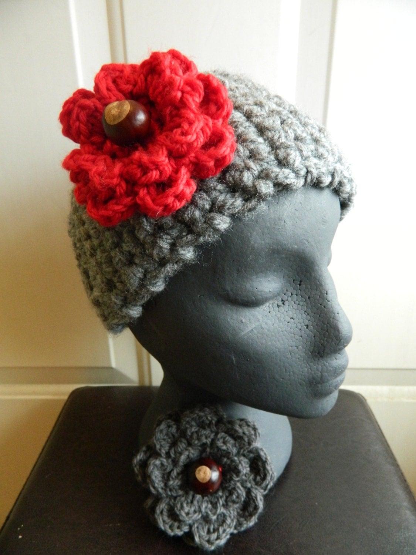Ohio State Crochet Flower Crochet Pin Flower Pin by KnottyKneedle