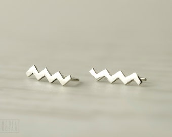 Sterling Silver Ear Cuff Chevron Ear wrap Pin Earrings Boho Jewelry - FES017