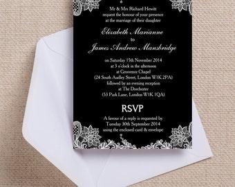 Black and White Vintage Lace Wedding Invitation & RSVP with envelopes