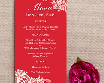 Red and White Vintage Lace Wedding Menu Cards