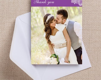Purple and White Vintage Lace Wedding Thank You Photo Note Card