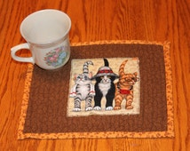 Cat Mug Rug, Table Topper, Quilted, Orange, Black, and Grey Cats,  Placemat, tea mat, candle mat