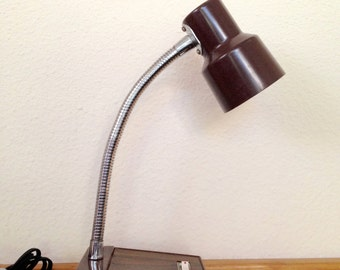 Vintage Brown Desk Lamp / Mid Century Table Lamp / Retro Gooseneck Tensor Type Lamp / Metal Adjustable Lamp / Retro Office Lamp