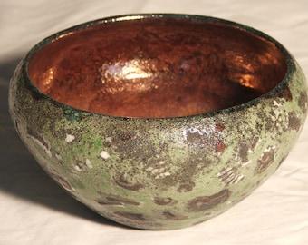 Raku ammonites - green or violet- bowl