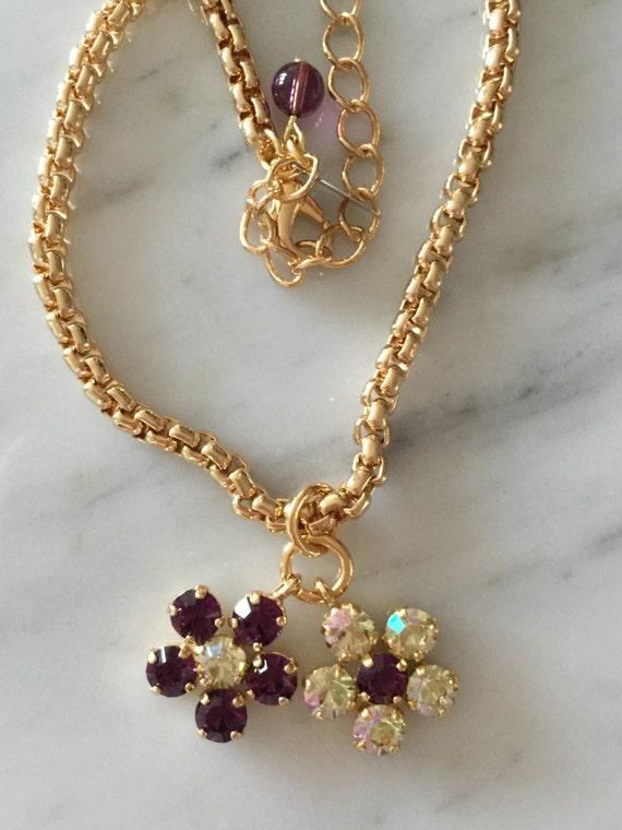Swarovski Crystal Charm Necklace,  Amethyst Crystal Necklace, Swarovski Amethyst Necklace, Luminous Green Necklace