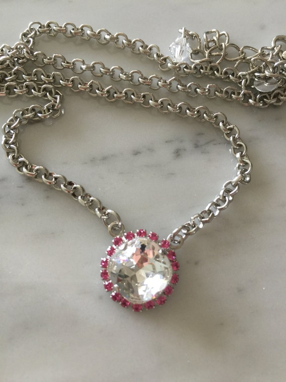 Clear and Pink Crystal Necklace, Swarovski Crystal Necklace, Swarovski Crystal Pendant, Clear and Pink Crystal Pendant