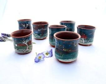 Tea set, Tea cups set, 5  painted whiskey cups, ceramic espresso cups,  hippie teacup, children teacups, pottery cups