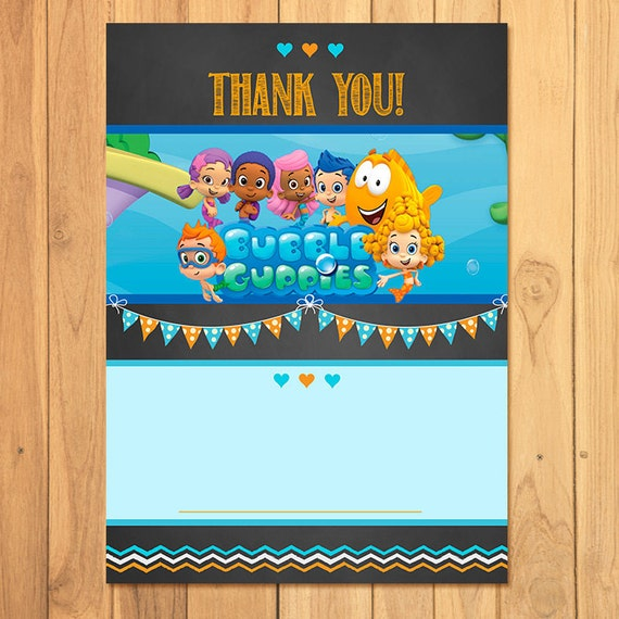 Bubble Guppies Thank You Card Chalkboard * Bubble Guppies Birthday * Bubble Guppies Printables * Bubble Guppies Favors