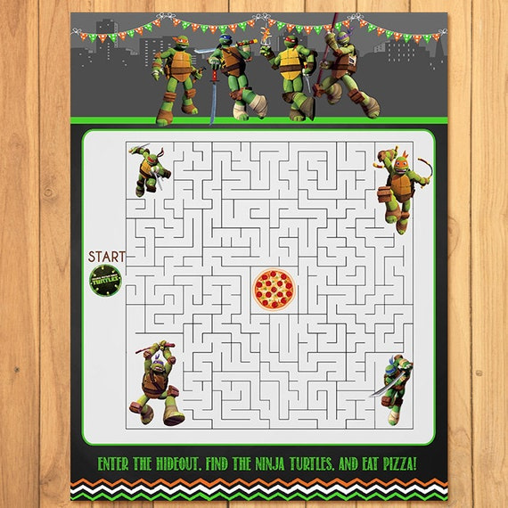 Teenage Mutant Ninja Turtles Maze Activity Sheet Chalkboard *TMNT ...