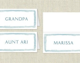 Easter Party Printable - Watercolor Place Cards - Instant Download - Personalize and Print Yourself