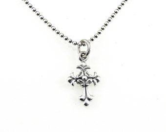 Cross Necklace, Antique Cross Necklace, Silver Cross Necklace, Sterling Cross, Baroque Cross Necklace, Cross Pendant, Silver Cross Pendant