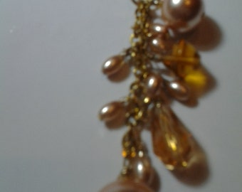 Long Golden Brown Crystal Necklace