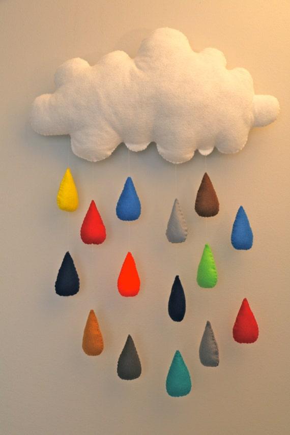 d coration murale nuage et gouttes de pluie multicolores en. Black Bedroom Furniture Sets. Home Design Ideas
