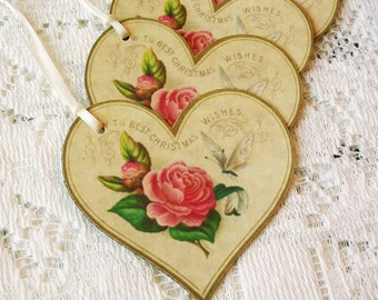 Christmas Gift Tags - 6 Vintage Style Heart Christmas Tags - Shabby Christmas Tags  - Holiday Tags - Christmas Gift Wrap - Large Gift Tags