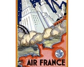 Vintage Air France Amerique Du Nord Old Travel Poster