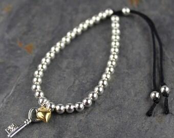 Key To My Heart Silver Friendship Bracelet with Silver Key