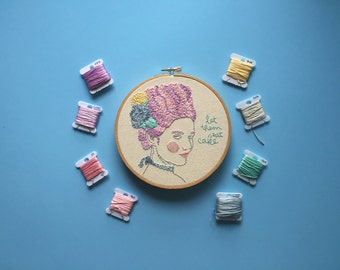 """Let Them Eat Cake // Marie Antoinette // Minimalist Floral Design // 6"""" Embroidery Hoopart, Cream"""