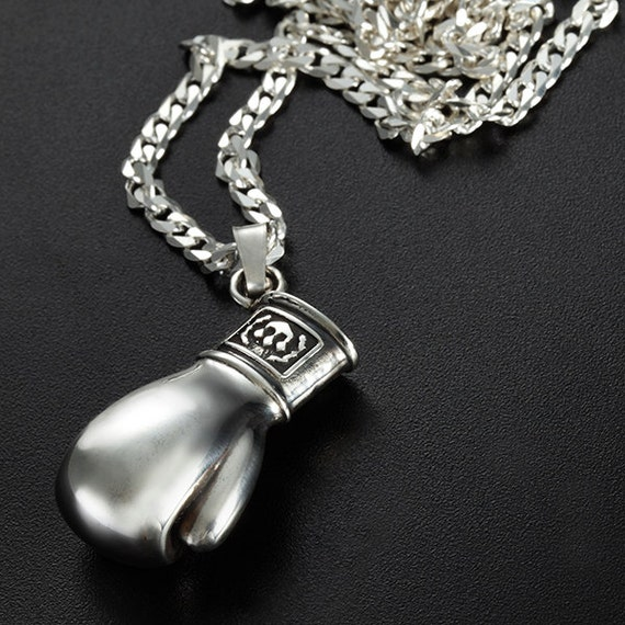 sterling silver boxing glove pendant boxing glove necklace for