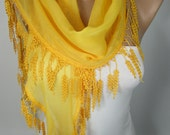 MOTHERS DAY So Soft Bright Yellow Scarf Shawl Lace Edge Cotton Scarf Spring Summer Scarf Women Fashion Accessories Gift Ideas For Her ForMom