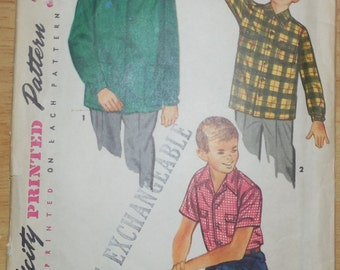 Simplicity 4100 Boy's Shirt Pattern Size 8-Complete, Cut w/Instructions, 1950s Boy's Clothes Pattern