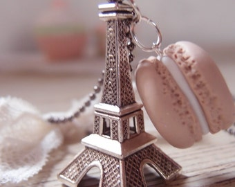 Macaroon Necklace and Eiffel Tower-macaron Necklace-Gourmet gift-Vintage necklace – Beauty gift – Macaron in Fimo-Gift St Patrick