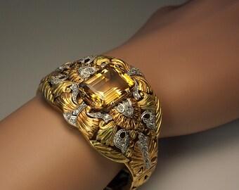 Art Nouveau Antique Bracelet Gold Platinum Citrine Diamond c. 1910