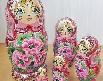 Nesting doll - Pink flowers - Russian matryoshka babushka dolls kod963