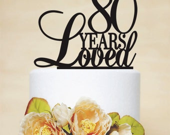 80th Anniversary Cake Topper,80th Birthday Cake Topper-A024