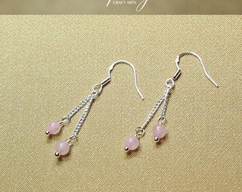 Gemstone Rose Quartz earrings, Double dangle Rose Quartz earrings, 925 Sterling Silver hooks, Crystal earrings, InfinityCraftArts
